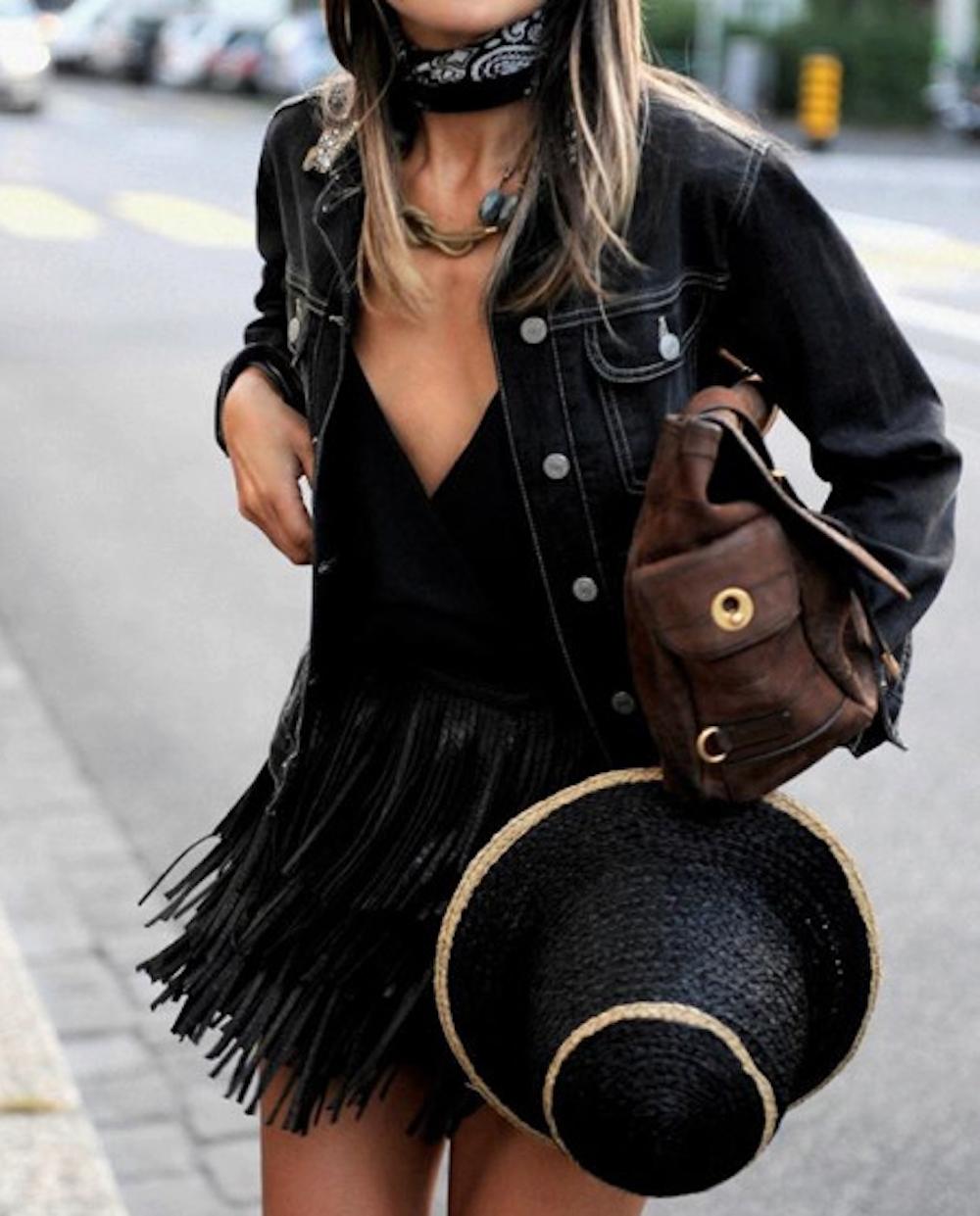 Black - choker leather skirt